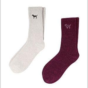 🆕 Pink Victoria Secret  2 Pairs Cozy Crew Socks